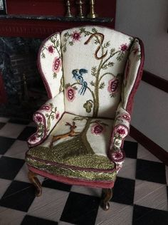 The piece is signed J Strup 1980. I have found a few other pieces (similar chairs and hanging art) by Jean Strup on the internet, but cannot find a biography on her. Artisan Jean Strup. Dollhouse Miniature Upholstered Chair. | eBay!
