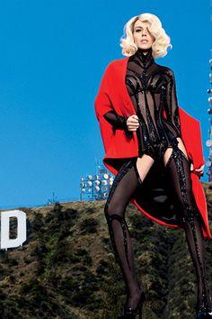 Lindsay Lohan wearing Louis Vuitton Cape, Thierry Mugler Vintage Bodysuit,  Vogue Espana August 2009