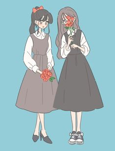Illustrations — n i g h t r o u t i n e Friend Anime, Anime Best Friends, Cute Art Styles, Cartoon Art Styles, Kawaii Art, Kawaii Anime, Wow Art, Anime Art Girl, Cute Drawings