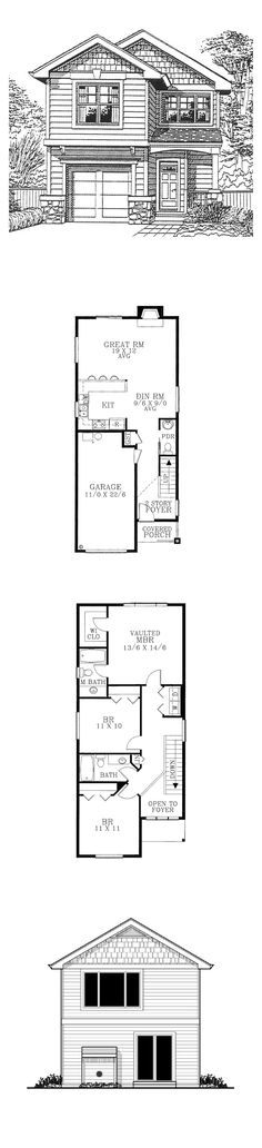 Narrow Lot Home Plan 91470 | Total Living Area: 1400 sq. ft., 3 bedrooms & 2.5 bathrooms. #narrowlot #houseplan