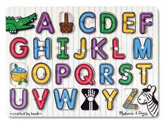 Melissa & Doug See-Inside Alphabet Peg Puzzle. Can't recommend this enough, my son learned his letters before age 2 using this puzzle and it's a great visual when singing the ABCs.