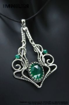 Green onyx pendant sterling silver soldered and by IMNIUM on Etsy