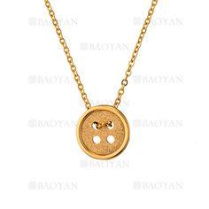 collar con boton de dorado en acero para mujer-SSNEG483450