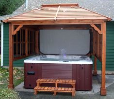 Amazing Nice And Wonderful Hot Tub Gazebo Design Ideas With Wooden Roof AndWhite Tub Also Floating Wall Idea