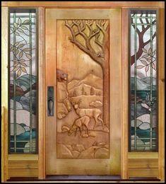 Doors and Windows -- Hand Carved Wood Door doors entrance stained glass Cool Doors, Unique Doors, The Doors, Entrance Doors, Windows And Doors, Doorway, Front Doors, Knobs And Knockers, Door Gate