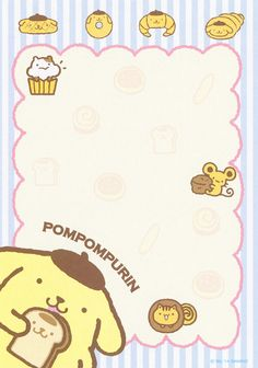 "Pom Pom Purin ""Sweet Toast"" memo pad as courtesy of Sanrio Sanrio Wallpaper, Kawaii Wallpaper, Hello Kitty, Memo Notepad, Cute Stationary, Cute Notes, Printable Stickers, Printable Scrapbook Paper, Cute Cartoon Wallpapers"