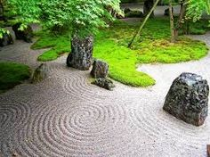 stones, moss, trees, raked peastone