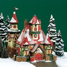 "Department 56: Products - ""Route 1, North Pole, Home Of Mr. & Mrs. Claus"" - View Lighted Buildings"