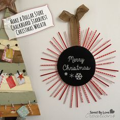 DIY Starburst Christmas Wreath with Dollar store supplies and @FloraCraft @savedbyloves