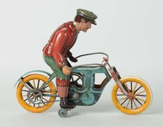 Lot # : 705 - Scarce German Tin Litho Flywheel Motorcycle.