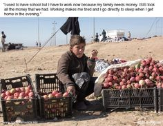 Escaping ISIS: Story of an ISIS refugee in Iraq #ISIS #Erbil #Kurdistan #Iraq #SpiritofAmerica #nonprofit #refugee #humanitarian #help #family #boy #work #tired #apples #school #sleep #money