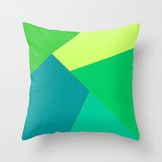 Green color block throw pillow case