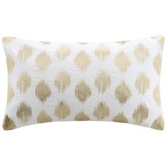 Ink+Ivy Nadia Dot Embroidered Oblong Cotton Throw Pillow featuring polyvore, home, home decor, throw pillows, gold, rectangle throw pillow, ikat throw pillows, oblong throw pillows, polka dot throw pillow and embroidered throw pillows