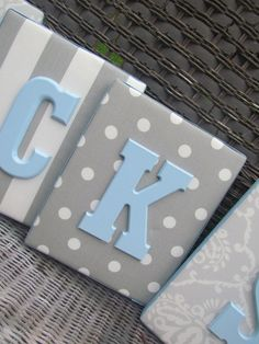Wall Letters, Blue and Gray Nursery, Gray and Baby Blue Nursery, 8x10, Framed Monogram, Baby Nursery, Painted Letters,Letters, Personalized. $19.99, via Etsy.