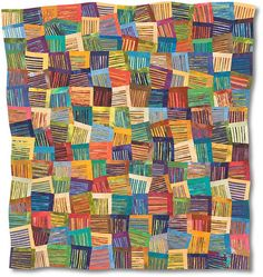 Stripes of Different Colors by Nancy Cordry - 49 x 46 inches.  Another one that takes my breath away.    Free-hand cut with rotary cutter, machine pieced, free-motion machine quilted, hand dyed