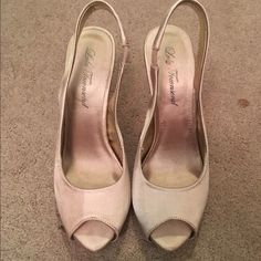 Nude open toe heels Only worn once! Great condition and very comfy Lulu Townsend Shoes Heels