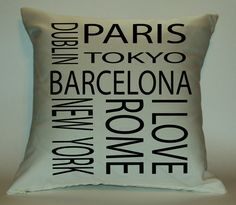 Love this pillow for my Travel themed bedroom!     Travel 18X18 Decorative Pillow Cover. $29.99, via Etsy.