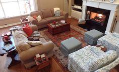 Cozy Contemporary - Living Room #living room #burntorange #fireplace #interiordesign #contemporary
