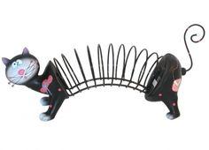 PORTA CD GATTO NERO. Porta CD in resina di colore nero a forma di gatto