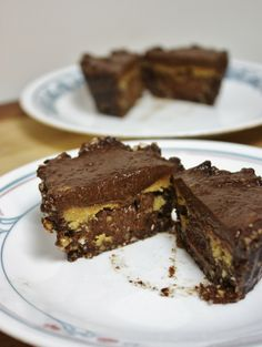 Raw giant peanut butter cups:  Crust: 1/4 cup nuts; 2-3 soaked dates; 1 Tb cocoa  Chocolate Layer: 1/2 avocado; 4 soaked dates; 2 Tb cocoa; 2 Tb coconut oil;  2 Tb cashew butter; 2 T agave; Pinch of salt  Peanut Butter Layer: 3 Tb Natural peanut butter, 2 Tb cashew butter 1/4 t salt