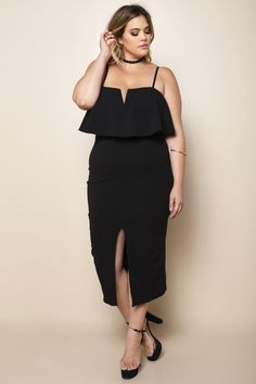 Look like the bombshell you are with this sexy plus size midi dress. Features a notch neckline with an interior wire to retain its shape, flounce top, natural waist, and high center slit at the skirt. Made with adjustable cami straps and back zipper. Sleeveless.