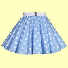 Childs Light Sky Blue with White Polkadot Full Circle Skirt