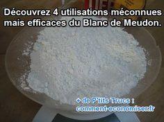 Vous n'en avez pas encore chez vous ? Voici 4 utilisations du Blanc de Meudon, ce produit ménager hyper efficace dont vous serez bientôt incapable de vous passer.  Découvrez l'astuce ici : http://www.comment-economiser.fr/utilisations-menage-blanc-de-meudon.html?utm_content=buffera71e8&utm_medium=social&utm_source=pinterest.com&utm_campaign=buffer