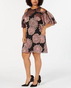 c05228de33c2e Jessica Howard Plus Size Floral Burnout Cold-Shoulder Dress