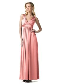 This sleeveless long jersey dress has beautiful charmeuse accents at the waist and straps. This bra friendly option is comfortable and easy to travel with. Dress this up for a bridesmaids look or dress it down later for a more casual event. Lightweight shimmery satin with a soft, contouring drape.A luxuriously soft fabric with a bit of stretch. A new favorite because of its versatility: beautiful drape, wrinkle resistant and uniquely glamorous.