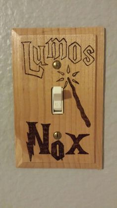 Harry Potter DIY  Light switch made with wood burning tool.