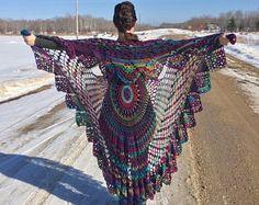 Bohemian vest done in unforgettable yarn in multi color - Beautiful