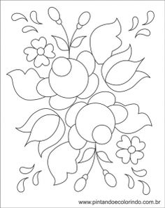 Most Popular Embroidery Patterns - Embroidery Patterns Mexican Embroidery, Cutwork Embroidery, Hungarian Embroidery, Hand Embroidery Patterns, Embroidery Designs, Folk Art Flowers, Flower Art, Rosemaling Pattern, Tole Painting Patterns