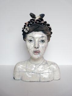rusalka buste femme sculpture ceramique raku