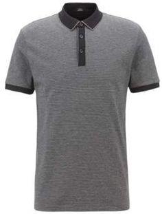 49643049e8932 BOSS Hugo Slim-fit polo shirt in three-colored mercerized cotton L Black