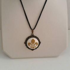 Cross stitch Necklace Fleur de Lis Cross stitch Necklace