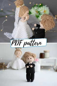 Crocher pattern bundle - boy doll and girl doll + their wedding outfits. 4 patterns, plus girl has 11 more outfits available! Crochet Doll Pattern, Crochet Toys Patterns, Stuffed Toys Patterns, Boy Doll, Girl Dolls, Cute Crochet, Crochet Hats, Crochet Wedding, Types Of Yarn