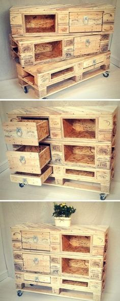 Shed Plans - DIY Pallet Chest with Drawers / Pallet made Dresser / Sideboard / Pallet Console Table - Now You Can Build ANY Shed In A Weekend Even If You've Zero Woodworking Experience! Diy Pallet Projects, Pallet Ideas, Wood Projects, Woodworking Projects, Pallet Workbench Ideas, Woodworking Garage, Woodworking Supplies, Pallet Crates, Wooden Pallets