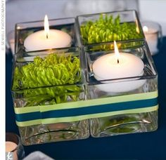 """2x2"""" square glass vases with modern flower and floating candle."""
