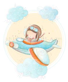 http://www.shivashalchi.com/fly-high-up-to-the-sky/ little baby boy illustration flying in the sky