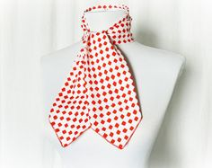 Vintage 60s Red Polka Dot Ascot Scarf Bow Neck Tie at PopFizzVintage, $20.00