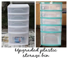My Crafty Soul: Upgrade those cheap plastic storage bins! Painting Plastic Bins, Spray Paint Plastic, Plastic Drawers, Plastic Storage, Paint Storage, Lego Storage, Storage Drawers, Storage Boxes, Storage Ideas