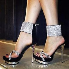 63fc743368e Black and Silver Platform Stiletto sandals with thick ankle cuffs with  white rhinestones on the ankle cuff and the toe straps. High Heels Fashion