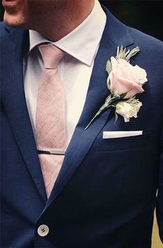 groomsmen navy blue suit, blush tie and pocket square