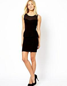 New Look Mesh Insert Peplum Dress