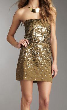 Strapless Sequin Dress / BCBG