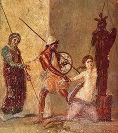 Ajax the Lesser drags Cassandra from Temple of Athena at Troy.Detail from a Roman fresco in Pompeii.