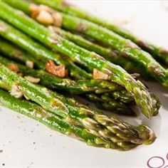 Garlic Roasted Asparagus--I love it this way. 7 minutes is all I cook it in my convection oven. I top with freshly grated Parmesan cheese when it comes out of the oven or sprinkle on some balsamic vinegar.