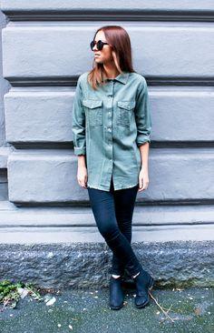 Army Green shirt, Fall 2012, Street fashion