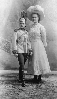 Grand Duke Dmitri Pavlovich Romanov of Russia with his sister the Grand Duchess Maria Pavlovna Romanova of Russia. Belle Epoque, Familia Romanov, Grand Duchess Olga, House Of Romanov, Tsar Nicholas Ii, Grand Duke, Last Dance, Imperial Russia, Kaiser