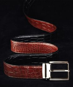 Our alligator leather belts with crafted ratchet buckles offer a smart and modern style that's perfect for any occasion. Leather Skin, Leather Belts, Mens Belts Fashion, Men's Fashion, Alligator Belt, Stylish Men, Men Casual, Designer Belts, Crocodile